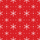 Snow Flakes Pattern Seamless on Red Background Royalty Free Stock Photo