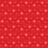 Snow Flakes Pattern Seamless on Red Background Stock Photography