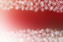 Snow flakes on red and white christmas background Stock Photo