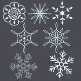 Snow flakes. Seasonal decorative set Stock Images