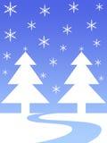 Snow flakes tress. Snow flakes christmas trees vector illustration