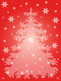 Snow flakes and Xmas tree Stock Photo