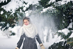 Snow flies on a girl in the park in winter Stock Images