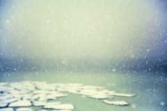 The snow flying over the sea with ice floes royalty free stock photo