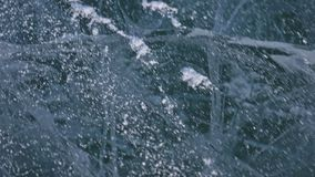 Snow is flying over surface of ice. Snowflakes fly on ice of Lake Baikal. Ice is very beautiful with unusual unique. Cracks. Snow sparkles and glows in red stock video footage