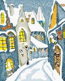 Snow  foggy Town Christmas Greeting card Royalty Free Stock Image