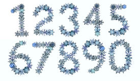 Snow font numbers made from snowflakes Stock Photo