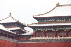 The snow in the Forbidden City scenery Royalty Free Stock Photos