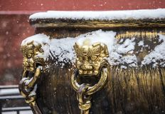 The snow in the Forbidden City scenery Royalty Free Stock Photo