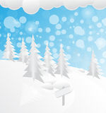 Snow in forest. Snowy forest Christmas background illustration Stock Illustration