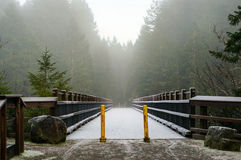 Snow forest bridge. Snow covered bridge with access to vehicles blocked and forest on the other side Royalty Free Stock Photo