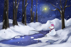 Snow Forest with Snow Man Stock Photo