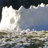Snow Fort. Children`s snow fort on a sunny winter day Stock Images