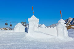 Snow fort in mountains ski resort - Innsbruck Austria Royalty Free Stock Image