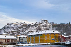 Snow on the Fortress. Winter has come to Halden and Fredriksten fortress have been covered with snow Royalty Free Stock Photo