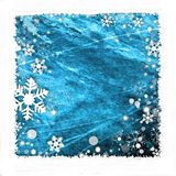 Snow frame background. Snow frame on blue background for winter season Royalty Free Stock Image