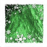 Snow frame background. Snow frame on green  background for winter season Royalty Free Stock Photo