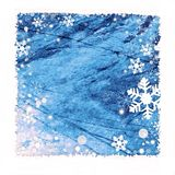 Snow frame background. Snow frame on blue background for winter season stock illustration