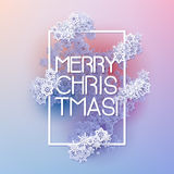 Snow frame with Merry Christmas text. Royalty Free Stock Photos