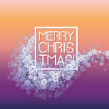 Snow frame with Merry Christmas text. Stock Photo