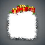 Snow frame with red gift boxes. Christmas frame background with fir branches and realistic red gift boxes. Vector illustration Royalty Free Stock Images