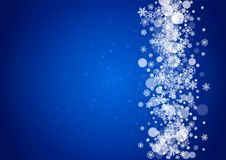 Snow frame with white snowflakes. For Christmas and New Year celebration on blue background with sparkles. Horizontal snow frame for banners, gift coupon Stock Photography