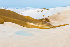 Snow-free patches reveal hot volcanic soil in a geothermal area Royalty Free Stock Images
