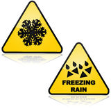 Snow and freezing rain. Traffic signs showing warnings for snow and freezing rain Stock Photos