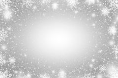 Snow frost Effect . Abstract bright white shimmer lights and snowflakes. Glowing blizzard. Scatter falling round particles. Snow frost effect on grey background Stock Photo