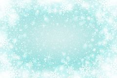Snow frost Effect . Abstract bright white shimmer lights and snowflakes. Glowing blizzard. Scatter falling round particles. Snow frost effect on blue background Royalty Free Stock Image