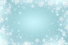 Snow frost Effect . Abstract bright white shimmer lights and snowflakes. Glowing blizzard. Scatter falling round particles. Snow frost effect on blue background Stock Image
