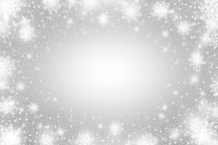 Snow frost Effect . Abstract bright white shimmer lights and snowflakes. Glowing blizzard. Scatter falling round particles. Snow frost effect on grey background Stock Photos