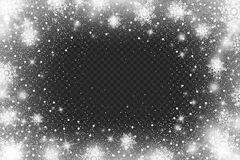 Snow frost Effect on Transparent Background . Abstract bright white shimmer lights and snowflakes. Glowing blizzard. Scatter falli. Snow frost effect on Royalty Free Stock Photography