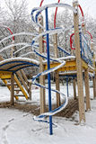 Snow and frost in the playground Stock Images