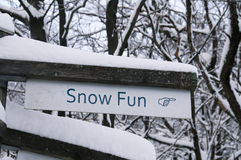 Snow Fun Direction Sign Royalty Free Stock Photography