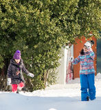 Snow fun Pomorie Bulgarian children in winter 2017 Stock Images