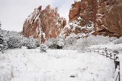 Snow at The Garden of the Gods. In Colorado Springs, Colorado Royalty Free Stock Images