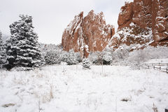 Snow at The Garden of the Gods Stock Images