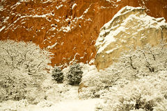 Snow at The Garden of the Gods. Winter snow at The Garden of the Gods in Colorado Springs, Colorado Royalty Free Stock Image