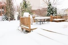 Snow on garden patio, winter scenery Stock Photography