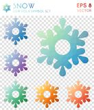 Snow geometric polygonal icons. Bizarre mosaic style symbol collection. Ecstatic low poly style. Modern design. Snow icons set for infographics or presentation Stock Photo