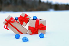 On snow gift box ball landscape snowflake Royalty Free Stock Photos