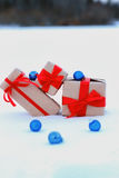 On snow gift box ball landscape snowflake Royalty Free Stock Photography