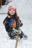Snow Girl. A blonde girl has fun in the snow stock photos