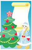 Snow girl and christmas tree. Vector illustration postcard with snow girl and christmas tree for invitation, greeting or decoration Royalty Free Stock Photo