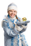 Snow girl with christmas-tree decorations Royalty Free Stock Photography