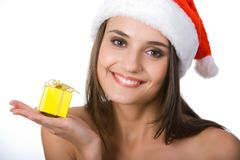 Snow girl with gift Stock Image