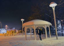 Snow girl. A girl in the park under the snowfall of night stock photos