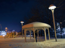 Snow girl. A girl in the park under the snowfall of night Stock Photos