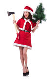 Snow girl santa in christmas concept isolated Stock Photography